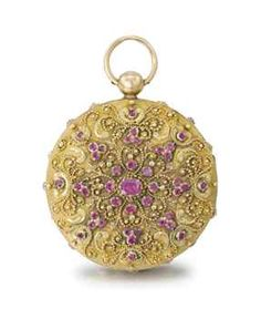 Bautte & Moynier. A fine and attractive 18K varicoloured gold, diamond and ruby-set openface cylinder watch,1820