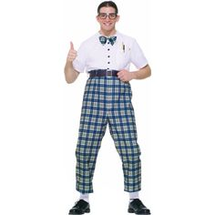 Our Adult Nerd Costume has a classic look from the 1950s. For a funny Couples Costume idea consider any of our other 50s Costumes for men or women. - One piece costume - Attached belt and bowtie - SKU