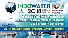 INDOWATER 2018 Expo & Forum IndoWater 2018 is the biggest Expo & Forum for the fast growing water, wastewater and recycling technology in Indonesia. This show will bring together over 6,000 industry professionals and experts also over 250 exhibitors from 31 countries.