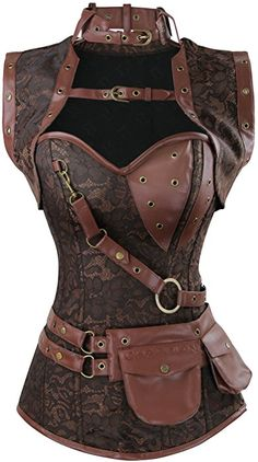 ddfcf0578d7 Charmian Women s Retro Goth Spiral Steel Boned Brocade Steampunk Bustiers  Corset with Jacket and Belt Brown