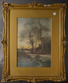 """GEORGE ERNEST COLBY (1859-1913) Watercolor titled """"In the Woods"""" Size : 26"""" x 32.5"""""""