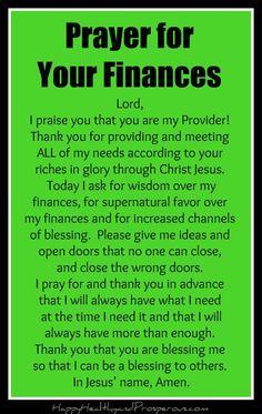 prayer for finances Prayer for Your Finances - Happy, Healthy amp; Prayer Scriptures, Bible Prayers, Faith Prayer, God Prayer, Prayer Quotes, Catholic Prayers Daily, Power Of Prayer, Faith Bible, Prayer For Finances