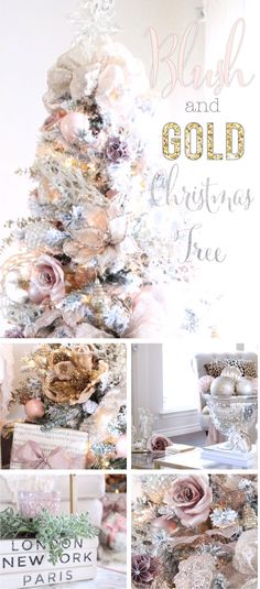 You have to see this Blush and Gold Glam Christmas Tree! Holiday Living Room Tour - SheLeavesALittleSparkle