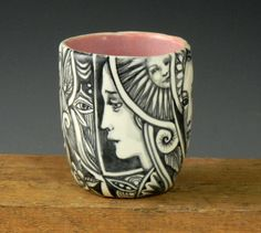 Black and white OOAK porcelain cup tea bowl with by PSPorcelain, $33.00