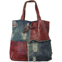 Shop for Amerileather Oversized Trisha Leather/ Denim Tote. Get free delivery at - Your Online Handbags Outlet Store!This Amerileather 'Trisha' oversized tote combines edgy style with practicality. Created with ripped denim and distressed leather, th Jean Purses, Purses And Bags, Tote Handbags, Leather Handbags, Leather Bags, Brown Leather, Leather Totes, Leather Backpacks, Leather Wallets