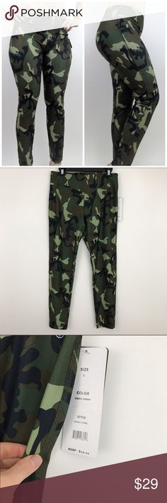 "LAST CHANCE! NWT Camouflage Workout/Yoga Leggings **AVAILABLE FOR A LIMITED TIME ONLY**  Add some pattern and fun to your look with these camo printed leggings. Featuring an elastic waist, logo stamp, top stitch, and tagless design, these leggings are comfortable and casual for a variety of activities.  Size large **model is 5""6 150 lbs for reference   #camo #camoleggings #sizelarge #rachelboncek Pants Leggings"