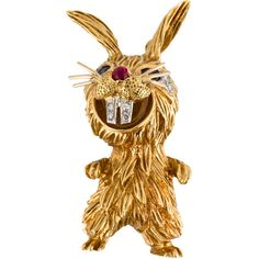 Pre-owned Kutchinsky 18K Rabbit Brooch ($3,995) ❤ liked on Polyvore featuring jewelry, brooches, preowned jewelry, red brooch, pin brooch, pin jewelry and rabbit brooch