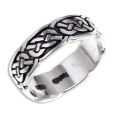 SR910 - Sterling silver Pictish knot ring - narrow, handcrafted in Cornwall, UK