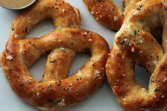 Rosemary and Sea Salt Soft Pretzels w/Cheddar, Stout and Coarse Grain Mustard Dip