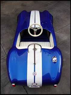 Shelby Cobra Go-Kart ---- better not show this to grumpa! Diy Go Kart, Amazing Cars, Awesome, Kids Ride On, Pedal Cars, Sweet Cars, Mini Bike, Hot Cars, Exotic Cars