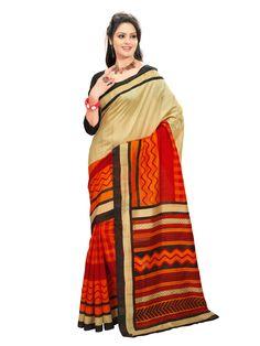 Cream and orange with black Printed #bhagalpurisilksaree