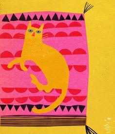 Hot Pink Cat Art Print by Madeleine McClellan at King & McGaw