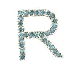 045 CT Real Blue Diamond Initial R Pendant by TheJewelleryStudio, $720.00