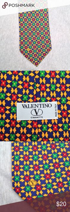 """men's Valentino tie - 4"""" wide 4"""" wide at widest point in the front 57"""" long 100% silk Made in Italy Excellent condition Royal blue, golden yellow, red and green geometric pattern Smoke-free and pet- free home Valentino Accessories Ties"""