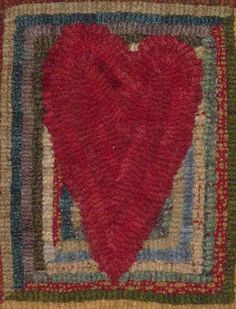 hooked heart LJFibers  Love the simplicity - narrow heart on a log cabin block background.  Sweet.