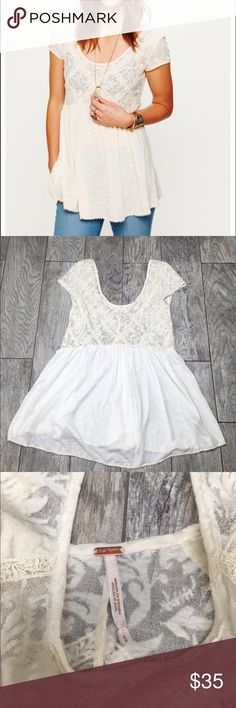 Free People Extreme Babydoll Tunic S Beautiful free People extreme babydoll tunic. Off white. Size small. Oversized fit. Lace top detail. Cap sleeves. Cotton, linen, nylon blend. EUC Free People Tops Tunics