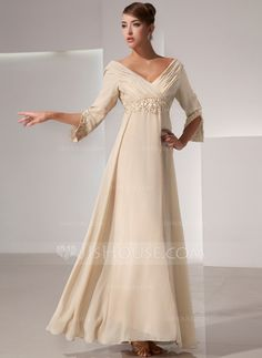 Empire V-neck Floor-Length Ruffle Beading Zipper Up Sleeves Sleeves Champagne Fall General Plus Chiffon Mother of the Bride Dress Mother Of Groom Dresses, Bride Groom Dress, Bride Gowns, Mother Of The Bride, Mob Dresses, Special Dresses, Special Occasion Dresses, Fashion Dresses, Vestidos Mob