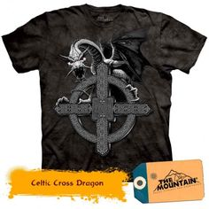 Celtic Cross Dragon - Dragons la doar 135,20RON Dragons, Celtic, Mountain, 3d, Mens Tops, Kite, Kites