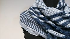 Chasing Blizzard is a simple asymmetrical scarf for chilly winter days. Not too fancy; just stripes and simple mesh lace, so this goes nicely for all styles and genders. Shawl Patterns, Knitting Patterns Free, Knitting Ideas, Free Pattern, Lace Knitting, Knit Crochet, Knitted Shawls, Knit Scarves, Lace Shawls