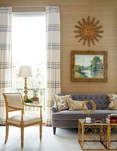 In the same clients' permanent #home in #DC, a sophisticated #livingroom features a tufted #sofa by Michael-Cleary and Phillip Jeffries #wallpaper. #interior #design #home #design #livingroominspo #livingroomdesign #livingroomdecor #homeinteriors  #InteriorDesign: Kelley Interior Design  Photography: Kip Dawkins   See more projects at: http://www.HandD.com/KelleyProxmire
