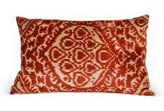 Nasha 16x24 Silk Velvet Pillow, Red
