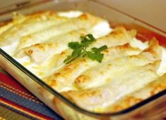 Use up leftover turkey: Caramelized Onion & Cream Cheese Turkey Enchiladas Turkey Enchiladas, Chicken Enchiladas, Mexican Dishes, Mexican Food Recipes, Cream Cheese Enchiladas, Leftover Turkey Recipes, Cream Cheese Chicken, Onion Chicken, Garlic Chicken