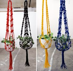 Oh how these bring back memories, I used to make them many moons ago....Macrame planters