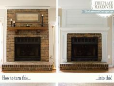 Fireplace makeover, keeping some exposed brick and building a mantle + plank wall over the top  |  The Lettered Cottage ...this idea would be perfect at the new house.