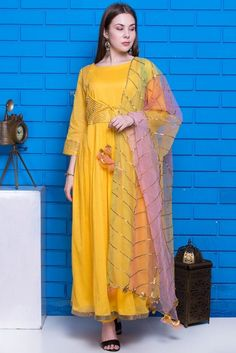 Yellow Cotton Anarkali Suit With Straight Pant. Cotton Anarkali, Anarkali Suits, Yellow Top, Color Yellow, Costumes Anarkali, Angrakha Style, Indian Classical Dance, Indian Salwar Kameez, Festival Wear