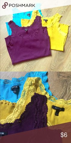 Apt.9 Bundle Three lace camis. Deep purple, Mustard yellow and bright blue. Apt. 9 Tops Camisoles