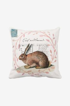 Pillow Cover Vintage Bunny Easter Decor Rabbit