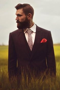 Great beard, great hair, great tie texture.  Mens fashion or Mens facial, that is the wuestion.