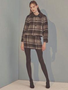 Check Mini Skirt_gray