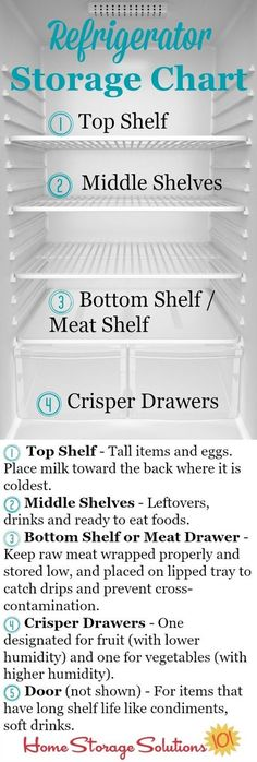 Refrigerator storage chart plus guidelines so you know exactly where to place your food in your fridge to keep it fresh and safe the longest {courtesy of Home Storage Solutions Good Tips Refrigerator Organization, Kitchen Organization, Organization Hacks, Fridge Storage, Refrigerator Cleaning, Organizing Tips, Freezer Organization, Organized Kitchen, Kenmore Refrigerator