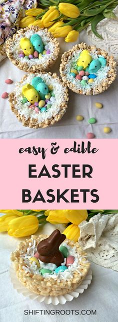 Check out this creative DIY Easter basket tutorial--everything is completely edible! Make the nest from Rice Krispies or puffed wheat, then decorate with jelly beans, candy, coconut, chocolate, and peeps. A fun recipe you can do with your kids. #easter #easterbasket #ricekrispietreats #ricekrispies #easter #easterideas #easterbasketideas #peeps #easternests