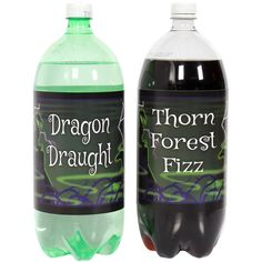 Maleficent bottle labels turn one-liter or two-liter bottles into magical looking drinks.