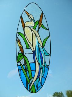 Heron in a stream with cat tails stained glass window Cling Stained Glass Window Clings, Stained Glass Door, Stained Glass Birds, Stained Glass Designs, Stained Glass Panels, Stained Glass Projects, Stained Glass Patterns, Celtic Stained Glass, Mosaic Glass