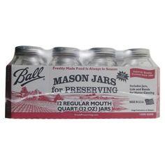 Ball 12ct Regular Mouth Quart Jars (32oz) : Target $17.79