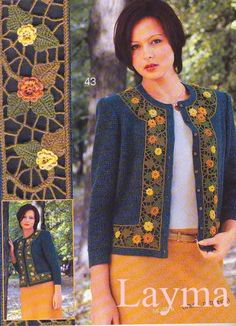 Irish lace, crochet, crochet patterns, clothing and decorations for the house, crocheted. Pull Crochet, Crochet Motif, Irish Crochet, Knit Crochet, Crochet Patterns, Crochet Jacket, Crochet Cardigan, Zhurnal Mod, Irish Lace