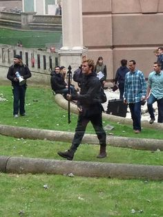 "Sam Claflin on the set of ""Mockingjay"""