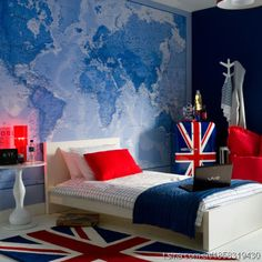 We just can't get enough of maps.  They are great for pretty well  any room but look especially good on an accent wall in this teen boy bedroom in red white and blue.    #bedroomwithmap