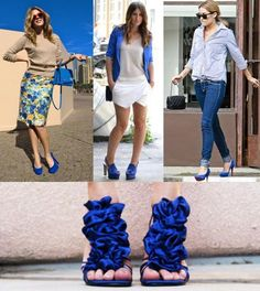What to wear with blue shoes. You see some blue shoes you love and you can't resist the temptation to buy them; once you've bought them the eternal question arises: What can I wear with. Blue Heels Outfit, Heels Outfits, Curvy Outfits, Casual Outfits, Casual Chic, Electric Blue Dresses, Royal Blue Shoes, Latest Shoe Trends, Shoes With Jeans