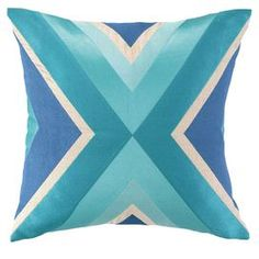 Hand-embroidered linen pillow with a geometric pattern and down fill.    Product: PillowConstruction Material: LinenColor: MultiFeatures: Insert includedDimensions: 20 x 20