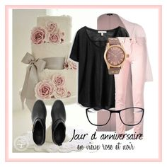 """Outfit Automne (7) """"Jour d'anniversaire"""" en vieux rose et noir by cathypersoons on Polyvore featuring mode and Oozoo"""