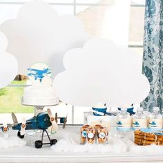 Vintage Plane Birthday Party Value Package from the Vintage Airplane DIY Printable Collection by Spaceships and Laser Beams. $45.00, via Etsy.