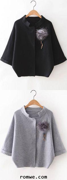 Black Raglan Sleeve Sweater Coat With Brooch -romwe.com