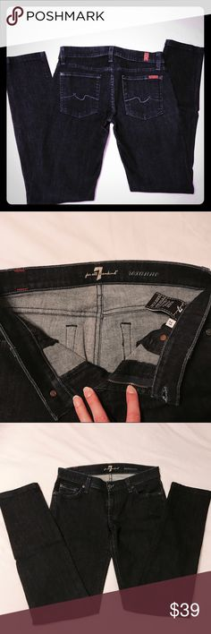 """**SOLD** 7 FAM Roxanne straight leg jeans 7 For All Mankind Roxanne straight leg jeans in excellent used condition. Very little sign of wear. No rips, tears, or fading. Flattering skinny/straight leg fit. Dark indigo """"new rinse"""" wash. 29.5 inch inseam. 7 For All Mankind Jeans Straight Leg"""