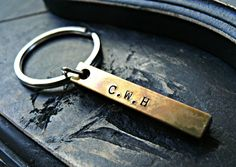 Four Sided Brass Bar Keychain - Personalized Keychain - Mens Keychain - Handstamped Men's Keychain - Custom Keychain for Men by yourcharmedlife on Etsy