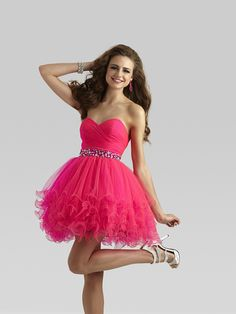 A-line Sweetheart Sleeveless Tulle Homecoming Dress With Beaded #FM942