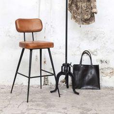 Vintage Barhocker Bar Hocker Stuhl gepolstert SH 75 cm Barstuhl Leder Metall